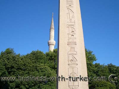 egyptian obelisk and tower of the blue mosque